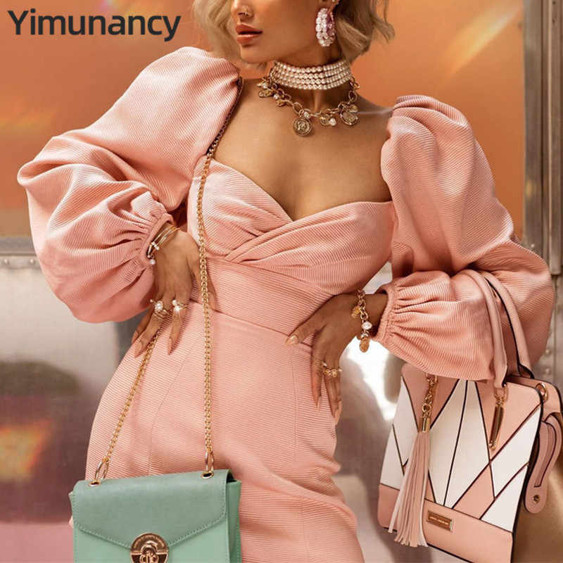 Yimunancy סתיו פאף שרוול שמלת נשים V צוואר גבוה מותן Bodycon שמלת גבירותיי ארוך שרוול ורוד המפלגה שמלת Vestidos גלימות