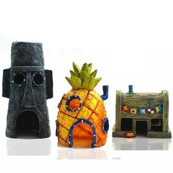 Mini akwarium dla SpongeBob & Squidward House ananasowy domek w stylu kreskówki domowe akwarium wystrój akwarium