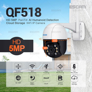ESCAM QF518 5MP Pan/Tilt AI Humanoid Detection Auto Tracking Cloud Storage WiFi IP Camera with Two Way Audio Night Vision - discount item  31% OFF Video Surveillance