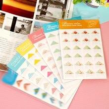 120 unids/lote (5 hojas) DIY colorida colección de pegatinas de papel de esquina para adornos para marcos y álbumes de fotos pasta de álbum Scrapbooking