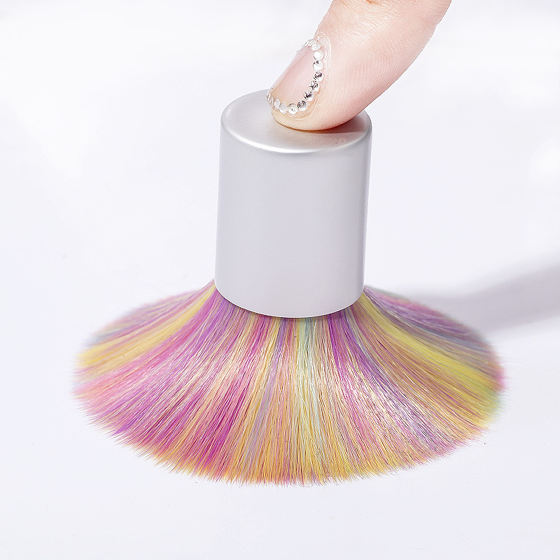 1 PC Rainbow Colors Nail Cleaning Brushes for Manicure Soft Fur Nail Dust Brus Blush Brush with Stand Nail Art Manicure Tools Nail Brushes    - AliExpress