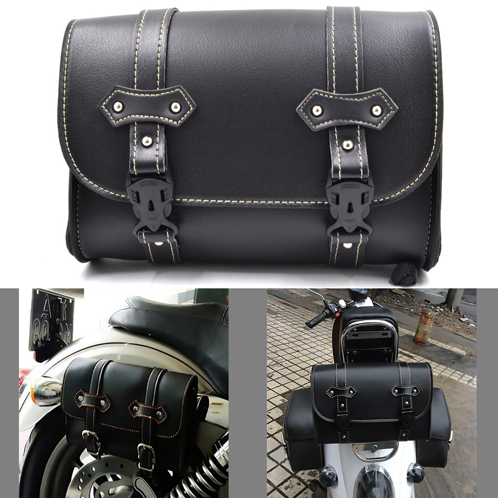 BJ Global Motorcycle Bags SideBags Saddlebags PU Leather Tool Bag Storage For Harley Sportster 883 Cruiser Storage Pouch Bag Saddle Parts