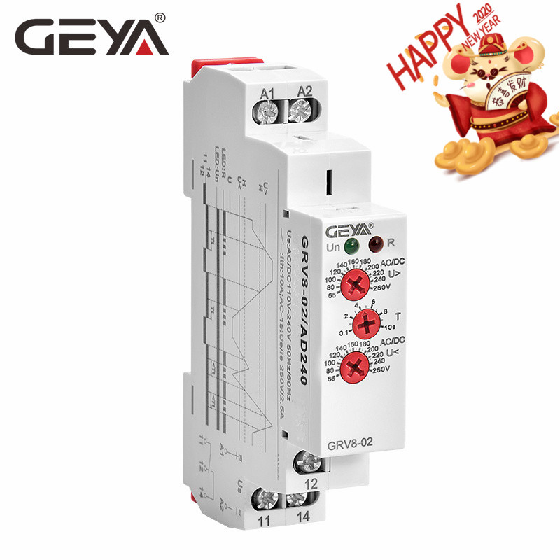 Free Shipping GEYA GRV8-02 Voltage Protection Relay AC220V DC12V DC48V ACDC240V Over-voltage And Under-voltage Protection