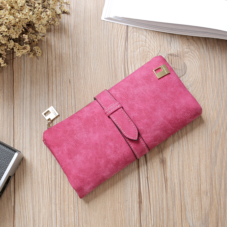Leather Zipper Long Women Wallets Solid Drawstring Nubuck Luxury Brand Wallet Designer Purse Card Holder Clutch Billetera Mujer