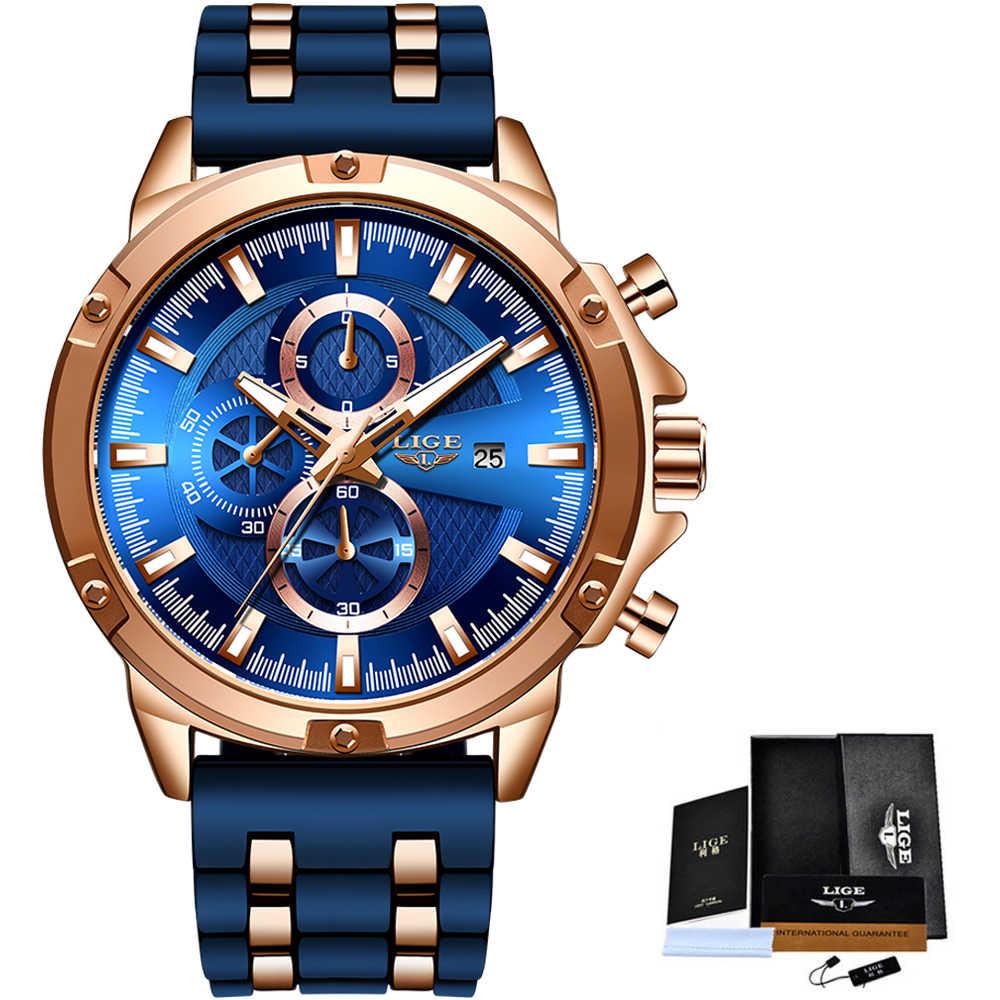 2020 새로운 Warterproof 실리콘 스포츠 남성 시계 LIGE 탑 브랜드 럭셔리 비즈니스 쿼츠 시계 남성 크로노 그래프 Relogio Masculino