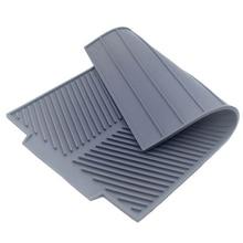 Силиконовый коврик для сушки посуды Flume складной дренажный коврик, Прямоугольный Коврик для сушки посуды термостойкий нескользящий лоток серый