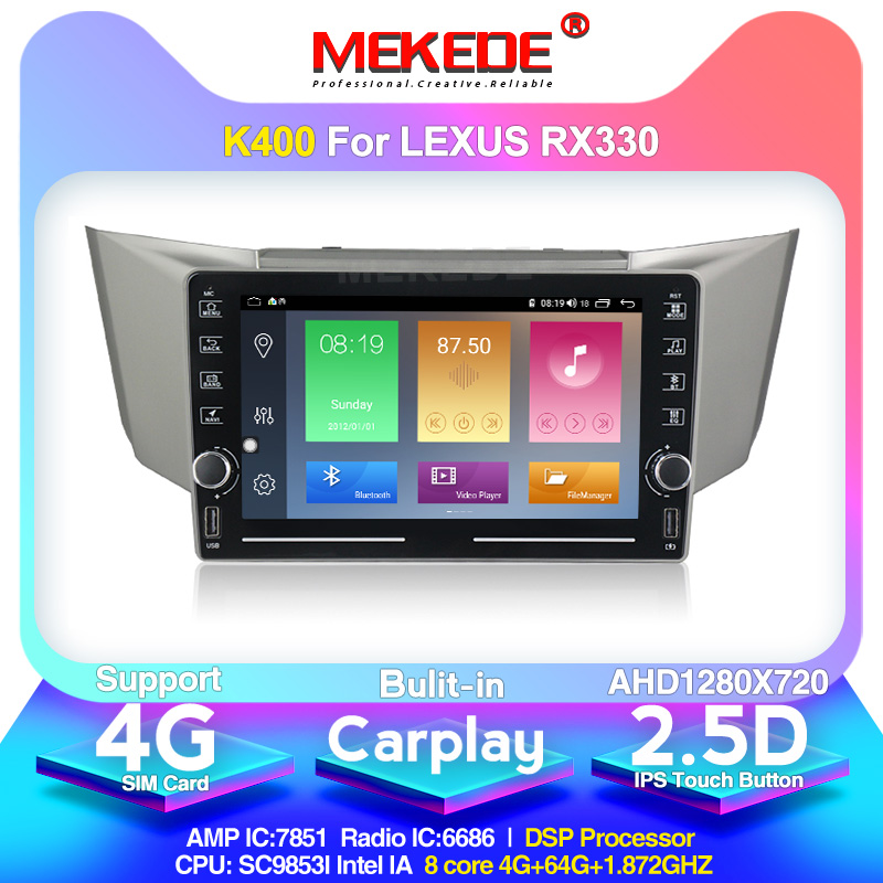 MEKEDE K400 Android 10 GPS For <font><b>Lexus</b></font> RX300 RX330 Toyota harrier 2003-2009 <font><b>Car</b></font> multimedia video player support WIFI <font><b>DVR</b></font> CARPLAY image