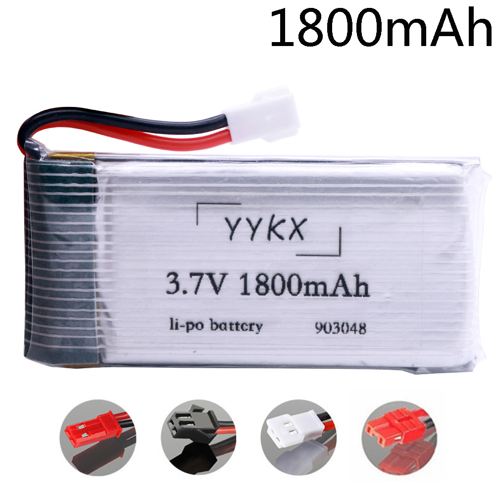 Battery For KY601S SYMA X5 X5S X5C X5SC X5SH X5SW X5HW X5UW M18 H5P HQ898 H11D H11C Helicopters 3.7V 1800mah Battery XH2.54 Plug