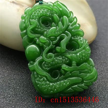 Dragon Pendant Necklace Jewellery Amulet Green Jade Natural Charm Gifts Luck Hand-Carved