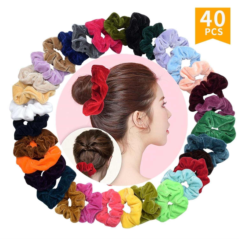 4//20Pcs Shiny Metallic Velvet Hair Scrunchies Ponytail Holder Elastic Ties Bands