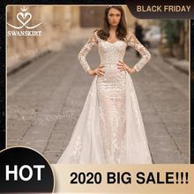 Свадебное платье 2 в 1 со съемным шлейфом, платье русалки с длинными рукавами и аппликацией, кружевное платье принцессы Vestido de novia 2020, юбка для невесты N312