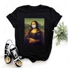 Mayos Mona Lisa Máscara T-shirt Harajuku Ullzang Das Senhoras Retro Impressão T-shirt 90s Dos Desenhos Animados Coreano Senhoras Topo