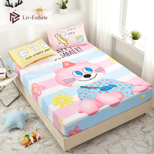 Liv-Esthete Cartoon Cute Cat Pink Fitted Sheet Mattress Cover Bed Linen 100% Cotton Bed Sheet On Elastic Band For Adult Child bruder машинка bruder мусоровоз scania
