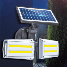 80COB solar led light outdoor Waterproof Microwave Human Body Induction 2head Rotatable Courtyard Solar Street wall Lamp