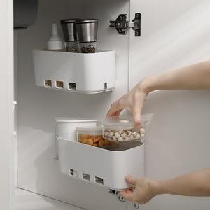 Large Wall Drawer Storage Rack Push-Pull Cabinet Organizer Punch-free Sundries Closet Organizer for Kitchen Bathroom Accessories