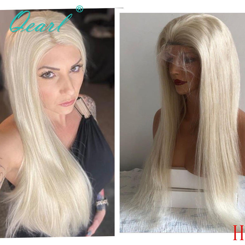 Light Blonde 360 Lace Frontal Wigs Human Hair Wig Straight Peruvian Remy Hair Preplucked Hairline 130% 150% 360 Wig Qearl