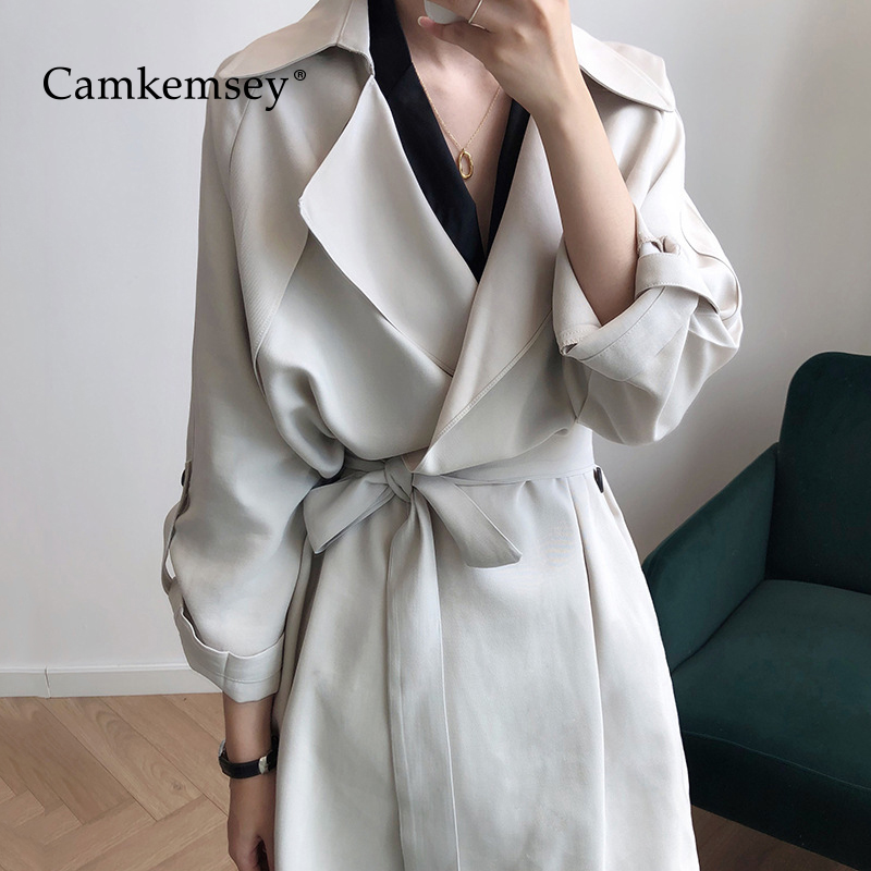 CamKemsey Autumn Casual Long   Trench   Coats For Women Spring Long Sleeve Turn Down Collar Brief Solid Work Suits Coats