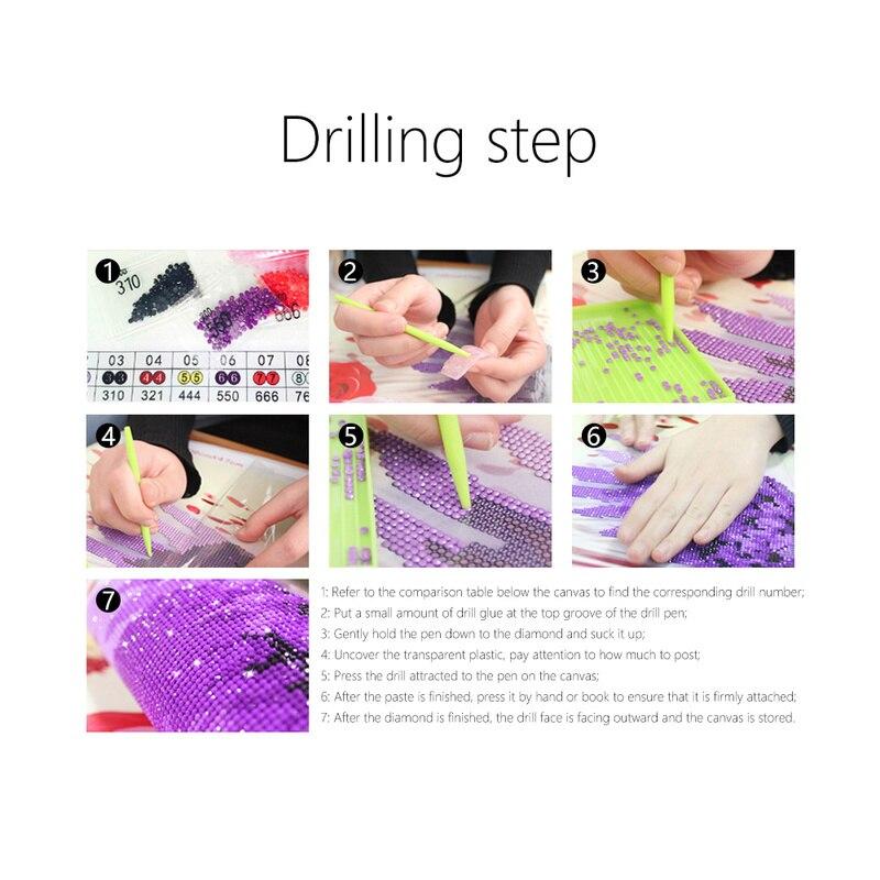 Image 5 - 5D DIY Diamond Painting Cross Stitch Purple Cherry Tree Embroidery Handmade Resion Round Diamond Living Room Decor 120x45cmDiamond Painting Cross Stitch   -