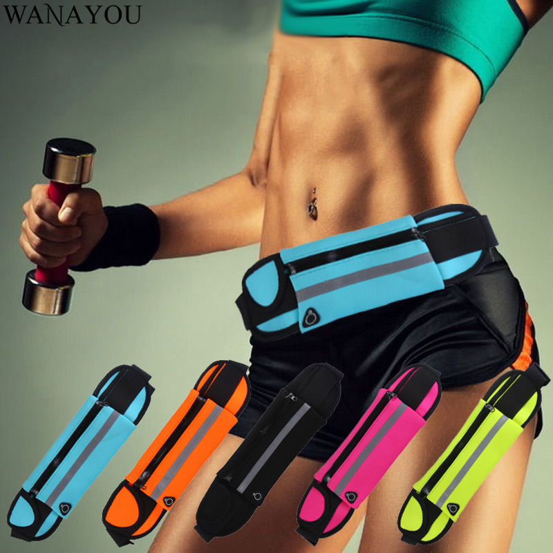 WANAYOU Waterproof Sport Running Waist Bag, 6.5 Inches Ultra-thin Outdoor Fitness Bags,Men Women Mobile Phone Gym Jogging Pouch