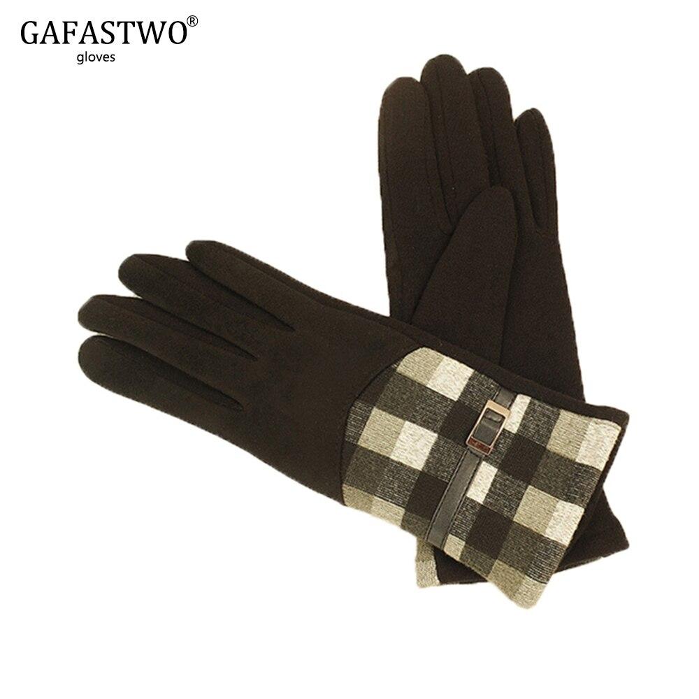 New Autumn And Winter Plus Velvet Warm Suede Plaid Gloves Ladies Points Fashion Riding Gloves