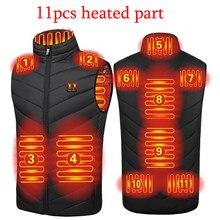 Veste chauffante pour hommes et femmes, 11 pièces, manteau Intelligent USB, chauffage électrique, vêtements chauds thermiques, gilet chauffant d'hiver, plus
