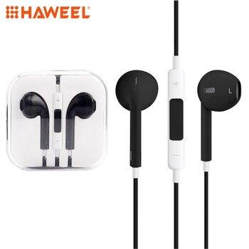 HAWEEL nuevo auricular de 3,5mm en Auriculares auriculares Control Auriculares auriculares con micrófono para iPhone para huawei para xiaomi para smartphone MP3