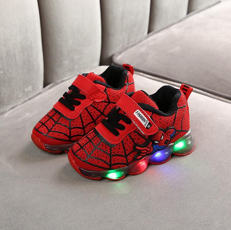 Kids Toddler Led Glowing Sneakers Children Hook Loop Fashion Luminous Shoes For Girls Boys Spider Man Children's Shoes