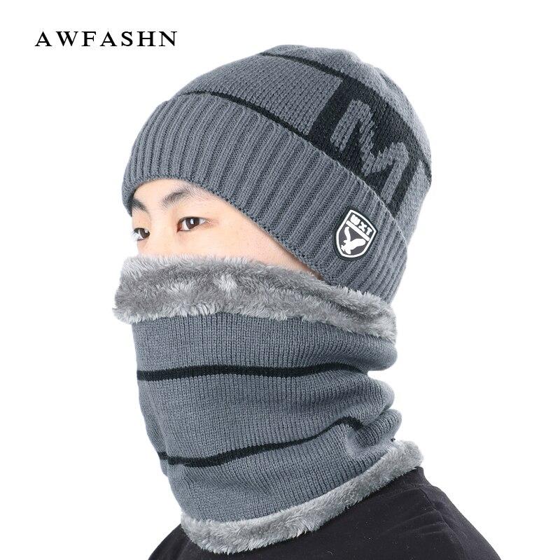 2019 High Quality Winter Knit Beanie Ring Scarf Sets Men Plus Velvet Thick Warm Hat Unisex Soft Cap Cotton Balaclava Bonnet Male
