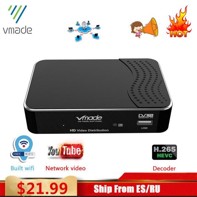 Vmade 2020กล่องด้านบนDVB T2 TterrestrialรับFull HD 1080P DVB T2 H.265ถอดรหัสสนับสนุนBuilt WIFI Youtube TV BOX