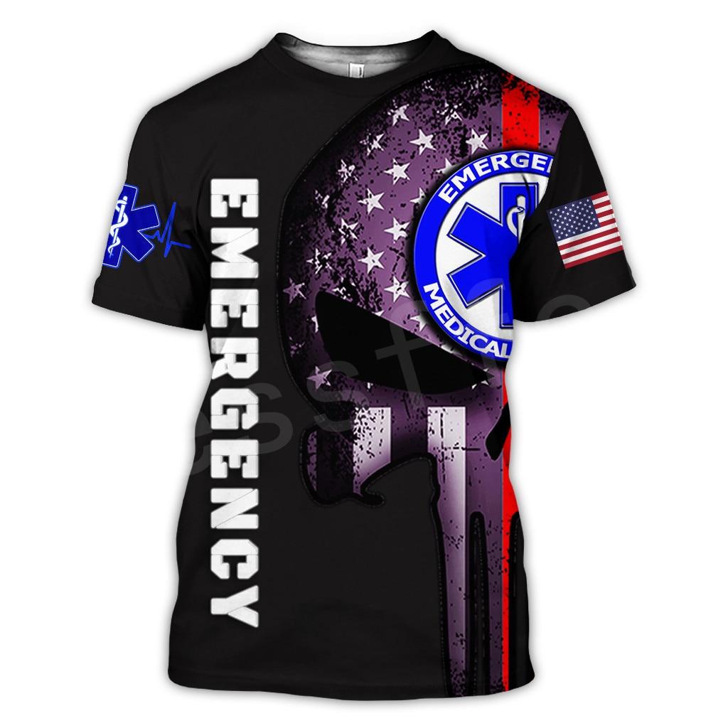 Tessffel Emergency Medical Service Technician EMT EMS Paramedic Hero New Fashion Unisex Casual 3DPrint Short Sleeve T-Shirts s-3(China)