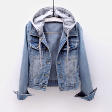 Vintage Denim Jacket Women Autumn Coat Ripped Hooded Outerwear Coats Windbreaker Basic Boyfriend Female Jeans Jacket Plus Size cheap GareMay Short Slim Turn-down Collar Single Breasted Casual Full REGULAR A-JA1824 STANDARD COTTON Pockets Frayed Solid Pure color
