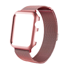 case&milanese loop strap for apple watch band 4 44mm 42mm bracelet stainless steel watchband for iwatch series 4/3/2/1 40mm 38mm milanese loop band for apple watch strap 42mm 38mm iwatch 3 2 1 stainless steel link bracelet wrist watchband magnetic buckle