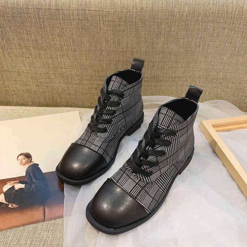 Kadın bahar ayak bileği bağcığı botları şemsiye bayanlar kare ayak kafes kadın Punk çizmeler Pu deri kadın Flats ayakkabı 2020 yeni