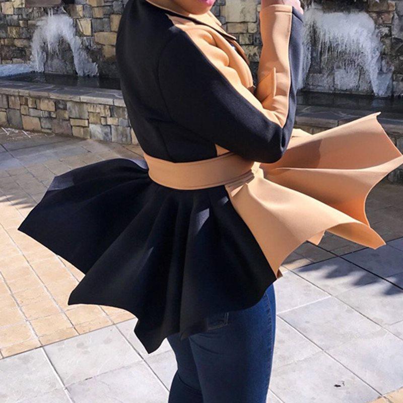 Jacket Coat Outwear Short Women Autumn Fashion Ladies Turn-Down Classic Tunic Lace-Up