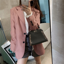 Early autumn fashion temperament ladies jacket suit 2019 new single-breasted full-sleeved loose plaid blazer high quality