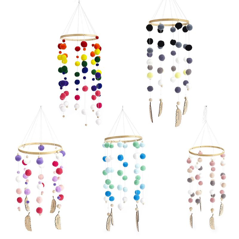 Nordic Hair Ball Crib Wind Chimes Baby Pendant Bed Bell Children Room Decoration