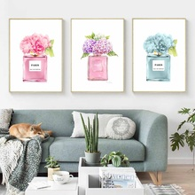 Watercolor Big Flower COCO Perfume Modern Wall Art Canvas Painting Nordic Posters And Prints Pictures For Living Room Girl