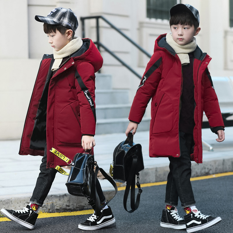 Baby Thick Warm Down Jacket Coat Jacket Boy Cotton Boy Clothes Fashion Hooded Jacket Long Cotton Jacket Boy Cotton Coat Jacket