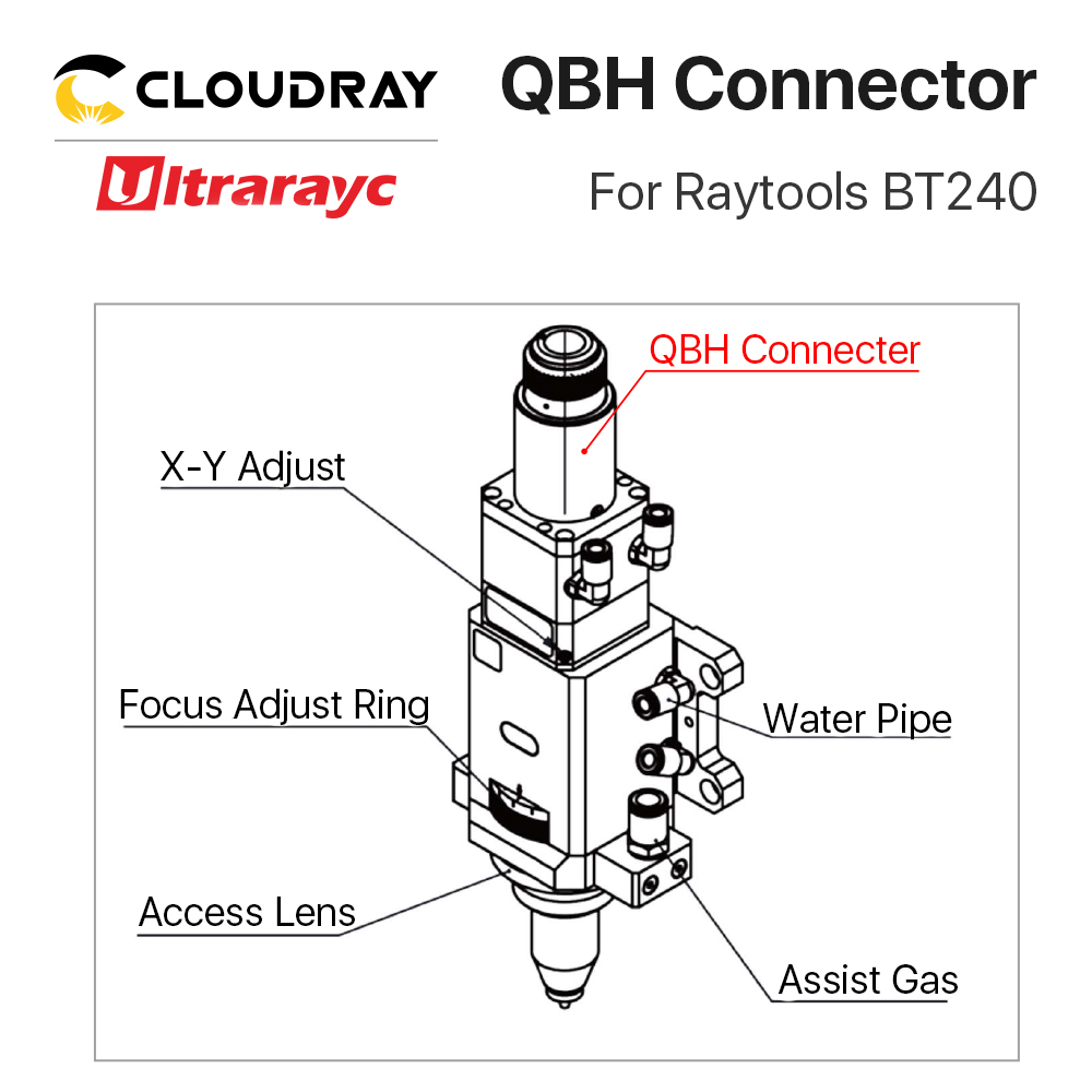 Tools : Cloudray QBH Connector for Raytools Series Laser Head BT210 240S BM109 BM111 Fiber Laser 1064nm Cutting Machine Parts