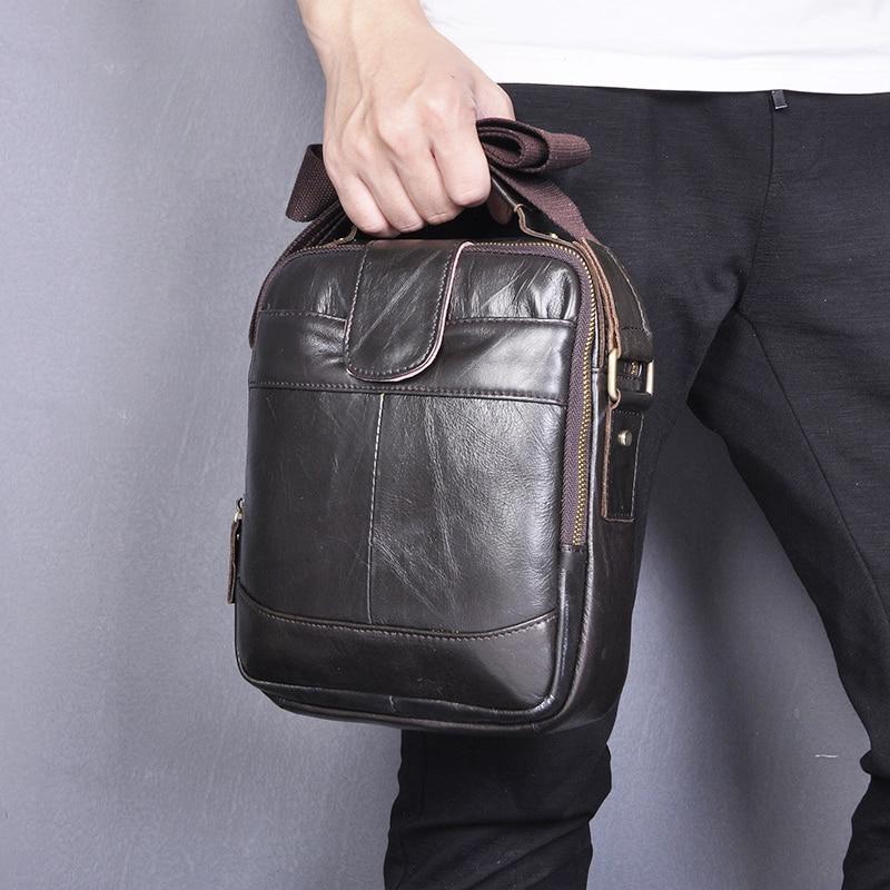 Quality Real Leather Male Designer Casual Messenger Crossbody Shoulder Strap Bag Fashion Male Mochila 9.8