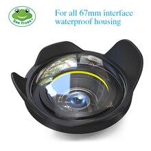 Interface de lente de câmera com ângulo amplo 67mm, interface para sony canon, nikon, fujifilm, câmera marinha mesilicone, caixa subaquática para mergulho, olho de peixe