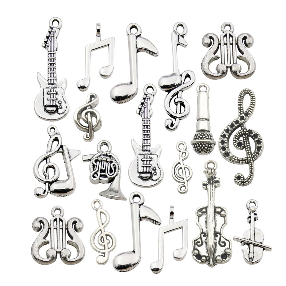 Charms Pendants Bracelet Craft-Supplies Necklace Jewelry-Making-Accessory Music-Notes title=