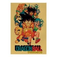 Dragon Ball Retro Posters arte de pared nostálgico antiguo Bar café pegatina de pared vintage 51,5x36 cm pintura decorativa