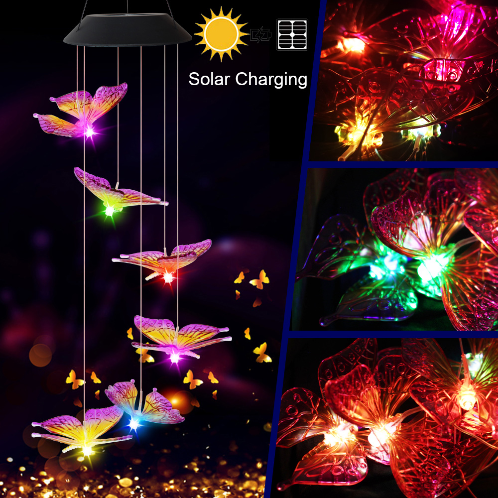 Butterfly Wind Chime lights Solar Powered Garden Yard Hanging Spinner Lamp Decor Outdoor solar waterproof wind chime light D30