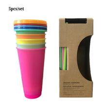 5 pcs Reusable Color Changing Cold Cups Summer Magic Plastic Coffee Mugs Water Bottles With Straws Set For Family friends cup