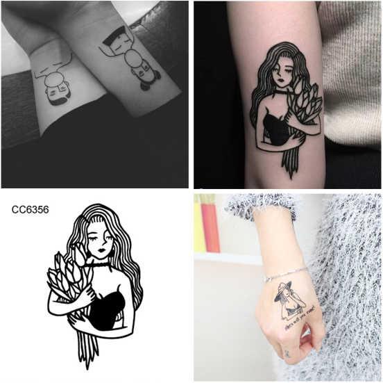 Seksi karikatür kedi yıldız su geçirmez geçici dövme etiket kol büyük okul yılan dövme çıkartma flaş sahte dövmeler erkekler kadınlar için