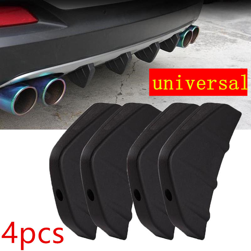 4Pcs Rear Bumper Spoiler Brand new and high quality PVC Accessories Universal for Car SUV Diffuser Molding Shark Fin