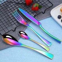 Spklifey Rainbow Cutlery Set 24 Pcs Stainless Steel Dinnerware Tableware Silverware Sets Dinner Knife and Fork