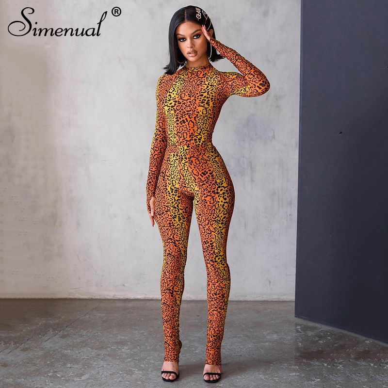 Simenual Leopard Fashion Casual Rompers Womens Jumpsuit Long Sleeve 2020 Skinny Workout Active Wear Jumpsuits Sporty Bodycon