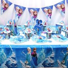 Conjunto de cubiertos desechables para fiesta de Frozen, platos de papel para niños, suministros de cumpleaños, decoración de fiesta, personajes de dibujos animados azules
